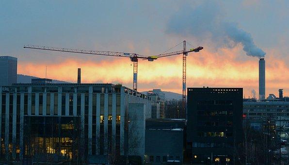 Industry, Zurich, Industrial Area, Morning Sun, Crane