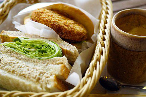 Western, Bread, Sandwich, Basket, Croquettes, Coffee