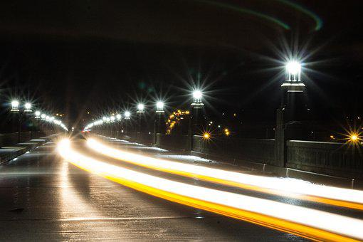 Light Streak, Bridge, Night, Light, Road, Street