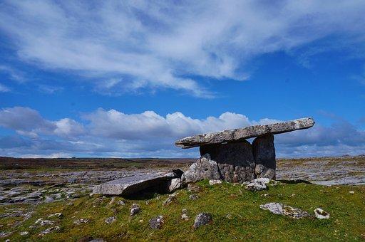 Ireland, Burren, County, Clare, Stone, Prairie, Grass