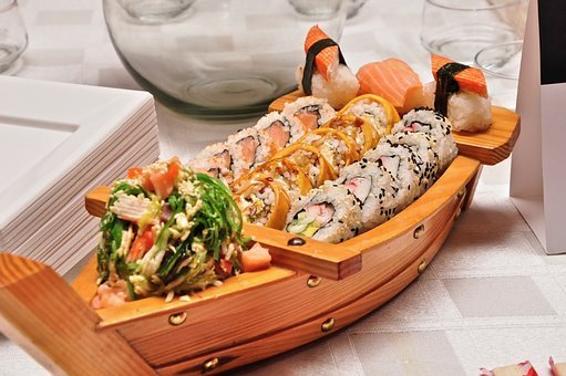 Food, Sushi, Boat, Seafood, Japanese, Fish, Rice, Meal