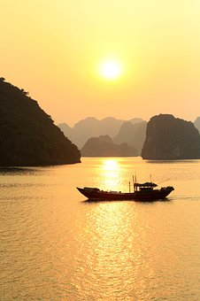 Ha Long Bay, Boat, Vietnam, Karsts, Sunset