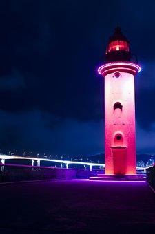 Lighthouse, Red, Busan, Zero, Gravel Beach, Hang Bridge