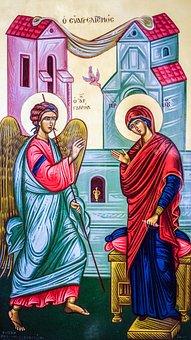 The Annunciation, Virgin Mary, Archangel Gabriel, Icon
