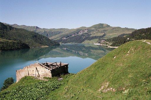 Nature, Mountain, Lake, Dam, Roselend, Savoie