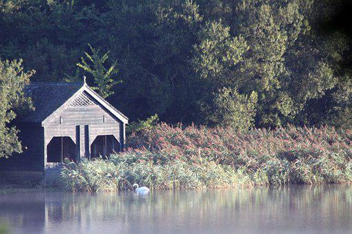 Lake, Boathouse, Water, Outdoor, Cabin, Blue, Rural