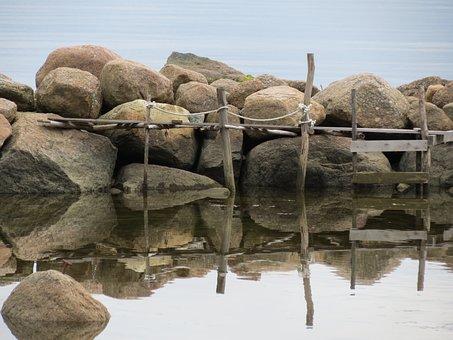 The Stones, Sea, Bridge, Beach, Seaside, Reflection