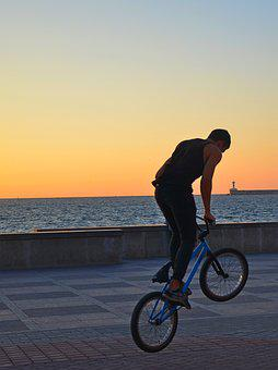 Bike, Sunset, Guy, Sports, Sea, Silhouette, Shadow