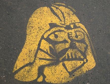 Darth Vader, Prague, Pavement, Yellow, Star Wars