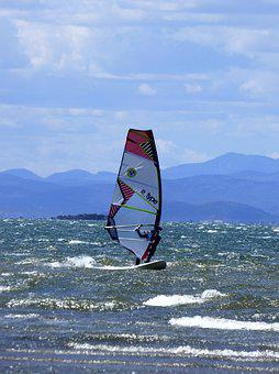 Windsurfing, Water Sports, Sea, Wind, Beach, Ebro Delta