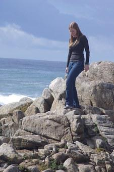 Beach, Rocks, Girl, Sea, Nature, Ocean, Water