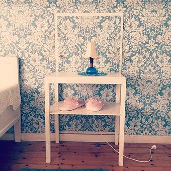 Wallpaper, Slippers, Bed, Bedside Table, Bedside Lamp