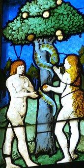 Adam And Eve, Church Window, Church, Window