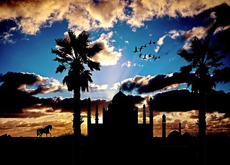 Mosque, Exotic, Architecture, Evening Sky, Palm Trees
