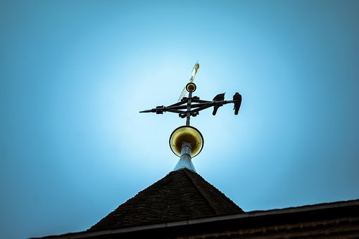 Spire, Weather Vane, Great, Fig, Gold, Wind Direction
