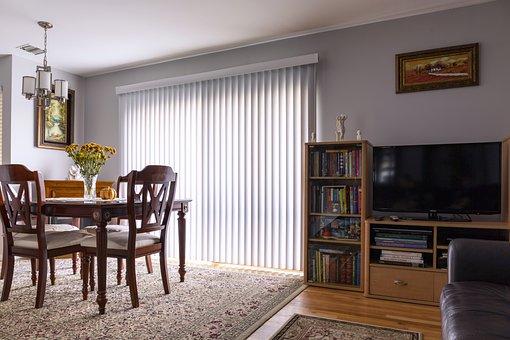 Home Interior, Vertical Blinds, Sliding Door, Blinds