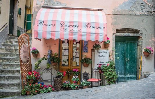 Italy, Cinque Terre, Store Front, Awning, Flowers, Shop