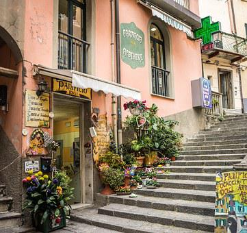 Cinque Terre, Italy, Stairs, Flowers, Entranceway