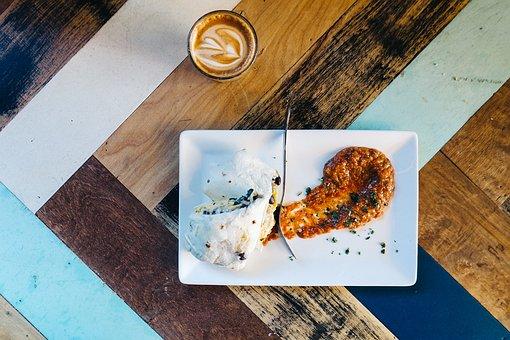 Breakfast, Burrito, Egg, Coffee, Latte, Table, Wooden