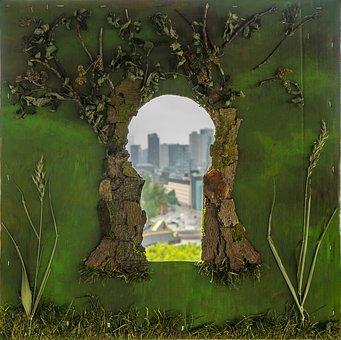Keyhole, City, Art, Idea, Light, Ambition, Achievement