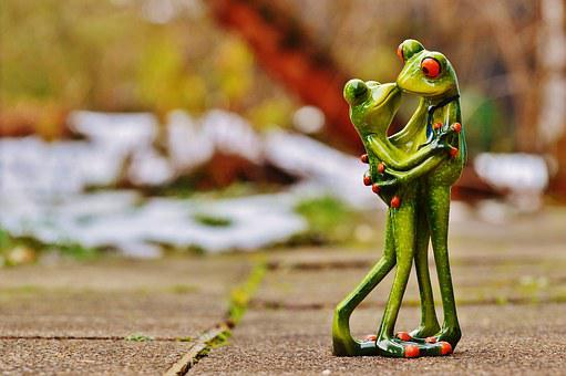 Valentine's Day, Love, Frogs, Pair, Kiss, Together, Fig