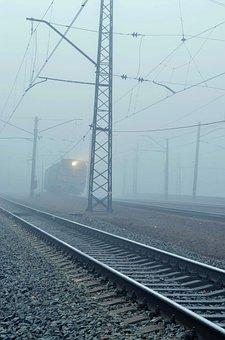 Train, Fog, Rails, Pebbles, Wire, Mast, Light, Road