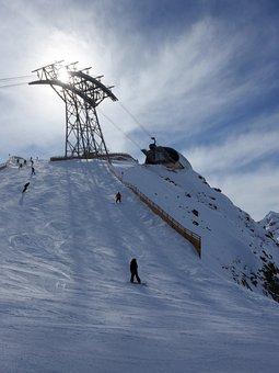 Mountain, Top, Peak, Ski, Snowboard, People, Sport, Sun