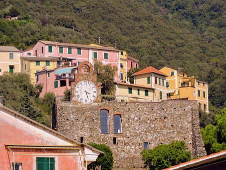 Colourful Houses, Watch, Cinque Terre, Mountain, Italy