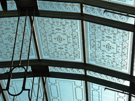 Close Up Ceiling, Stain Glass Ceiling, Ornate Roof