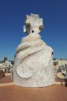 Spain, Pedrera, Casa Milà, Terrace, Architecture