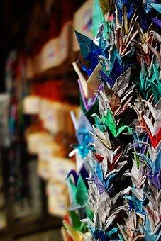 Thousand Paper Cranes, Prayer, Wooden Plaque