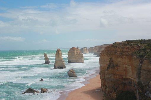 Twelve Apostles, Australia, Shore, Cliffs, Ocean, Sea
