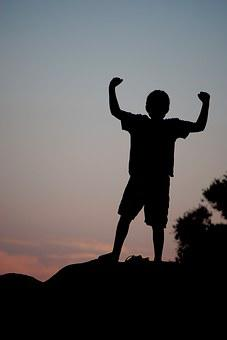 Silhouette, Boy, Victory, Child, Fun, People Silhouette