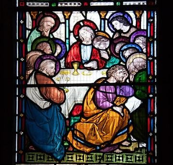 The Last Supper, 12 Apostles, Jesus, Stained Glass
