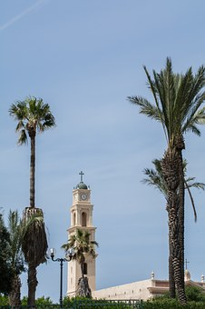 Church, Tower, Palm Trees, Building, Architecture