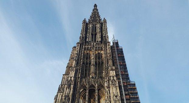 Ulm Cathedral, Steeple, Church, High, Ulm, Landmark