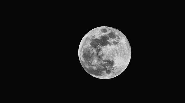 Moon, Landscape, Black And White, Strains