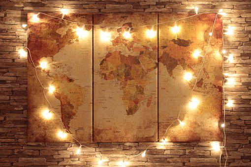 Earth, World, Map, Light, Chain, Lichterkette, Europe