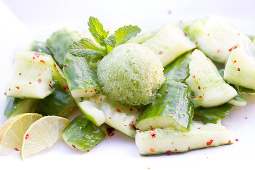Cucumber, Cucumber Salad, Salad, Chili, Ice, Mint