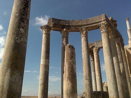 Tunisia, Columns, Roman Empire, Sky, Monument, Old