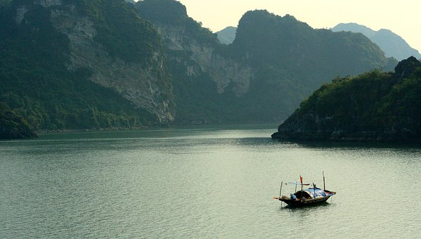 Ha Long Bay, Boat, Vietnam, Karsts