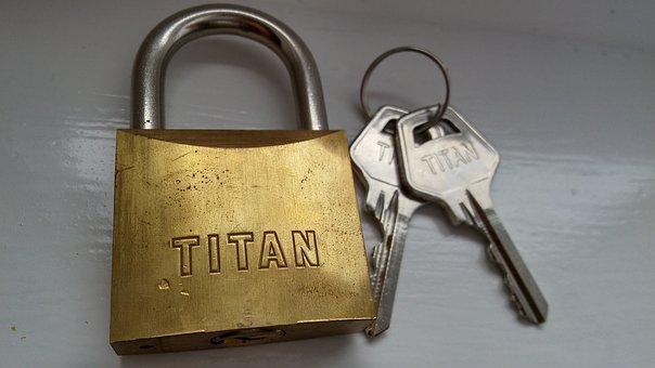 Padlock, Keys, Titan, Hardened Steel, Lock