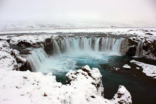 Waterfall, Blue, Snow, Water, Nature, Landscape, Travel