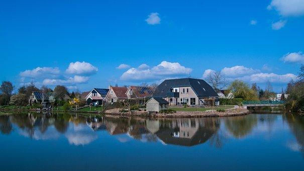 Steenwijk, Water, Landscape, Outdoor, Mirror, Sun, Air