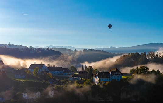 Balloon, City, Village, Town, Quaint, Cozy, Cosy, Mist
