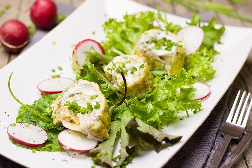 Salad, Leaf Lettuce, Radishes, Egg, Omelette, Filled