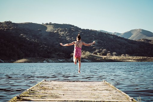 Girl, Jump, Leap, Lady, Kid, Child, Female, Summer