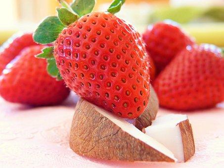Strawberries, Coconut, Healthy, Sweet, Fruity, Coconuts