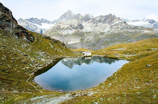 Lake, Alps, Swiss, Switzerland, Reflection, Hike, Trail