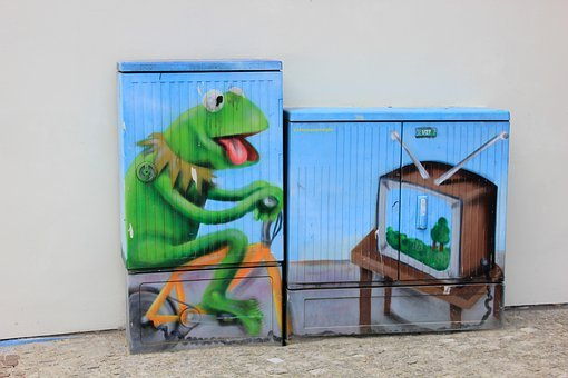 Street Art, Kermit The Frog, Tv, Power Box
